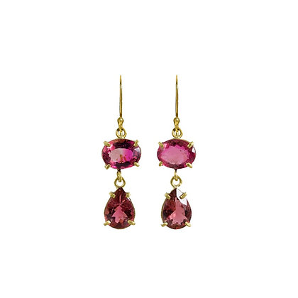 SMALL DOUBLE STONE TOURMALINE EARRINGS