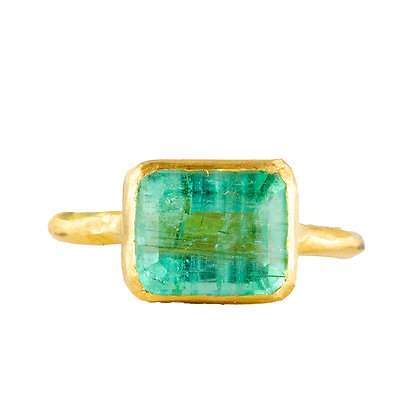LARGE EAST WEST COLOMBIAN EMERALD RING