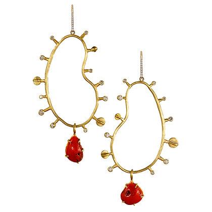 CORAL AND DIAMOND AMOEBA EARRINGS