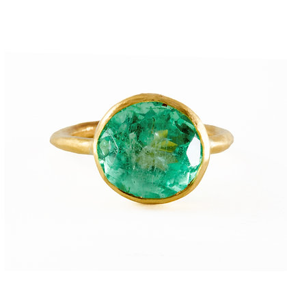 LARGE ROUND COLOMBIAN EMERALD RING