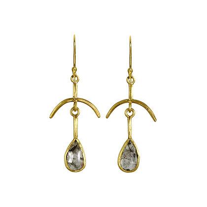 SALT AND PEPPER DIAMOND BONES EARRINGS