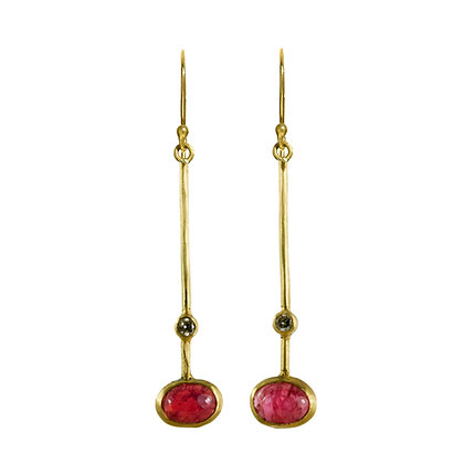 RUBY AND DIAMOND STICK EARRINGS