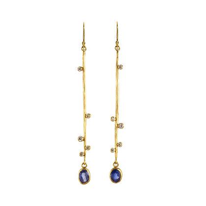 SAPPHIRE AND DIAMOND BRANCH EARRINGS