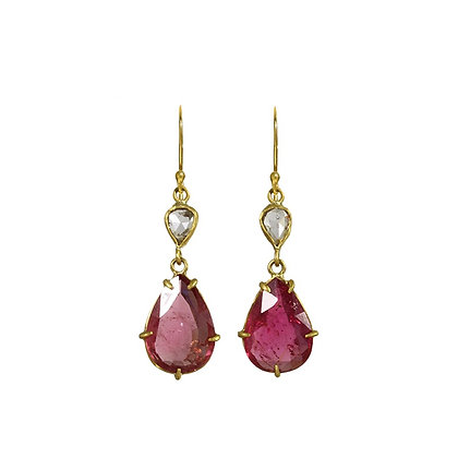 RED TOURMALINE AND ROSE CUT DIAMOND EARRINGS