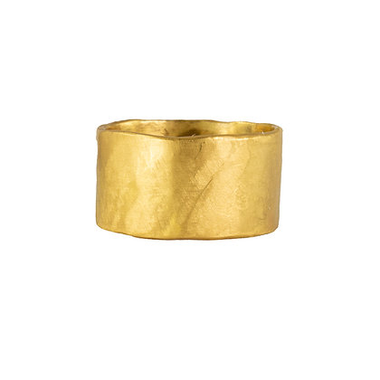 WIDE GOLD CIGAR BAND RING