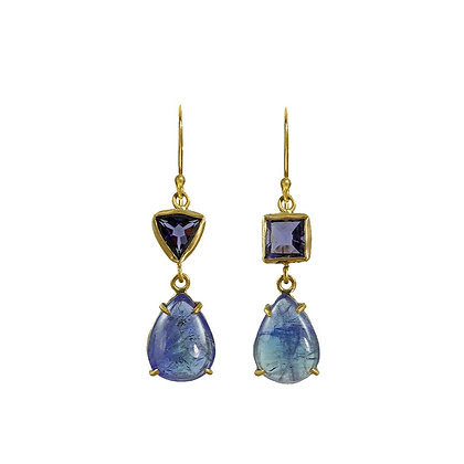 ASYMMETRIC TANZANITE TWO STONE EARRINGS