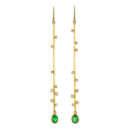 DIAMOND AND EMERALD BRANCH EARRINGS