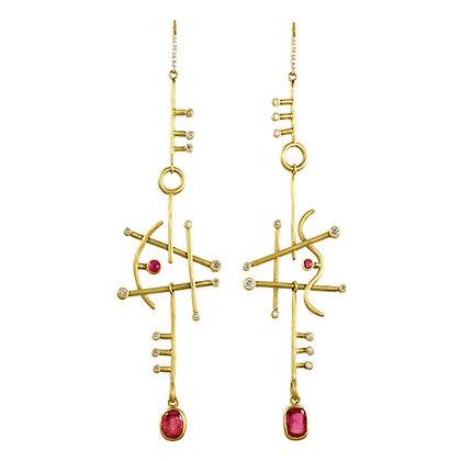 LARGE ORPHEUS RUBY EARRINGS