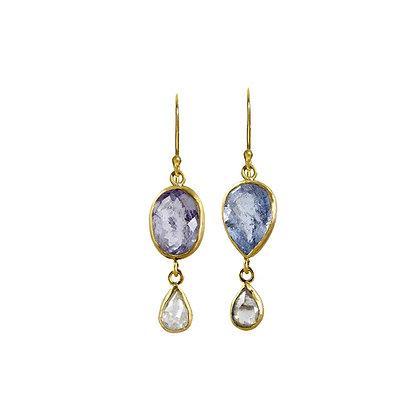 BLUE BERYL AND DIAMOND EARRINGS