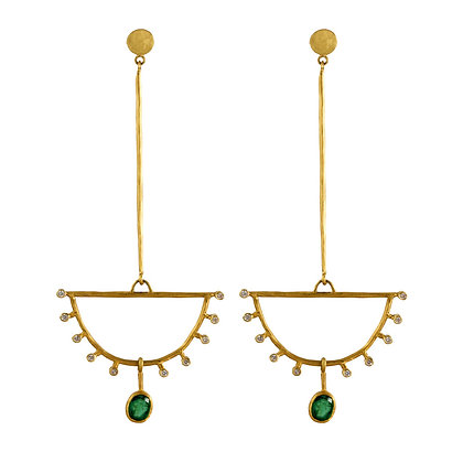 EMERALD AND DIAMOND FAN EARRINGS