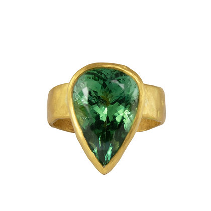 ONE OF A KIND GREEN PEAR SHAPED TOURMALINE RING