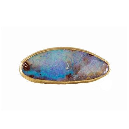 BLUE BOULDER OPAL BULL RING