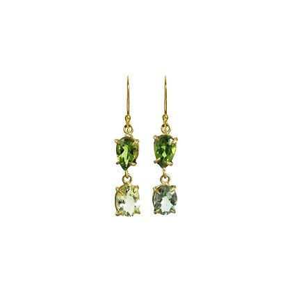 GREEN TWO STONE EARRINGS