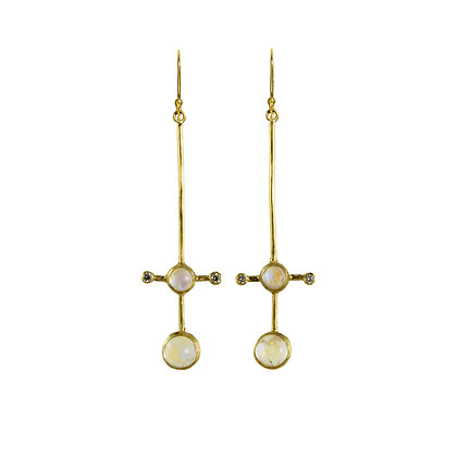 DOUBLE MOONSTONE STICK EARRINGS WITH DIAMOND ACCENTS