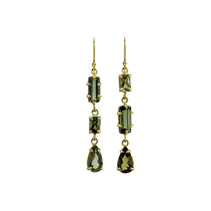 TOURMALINE THREE STONE EARRINGS