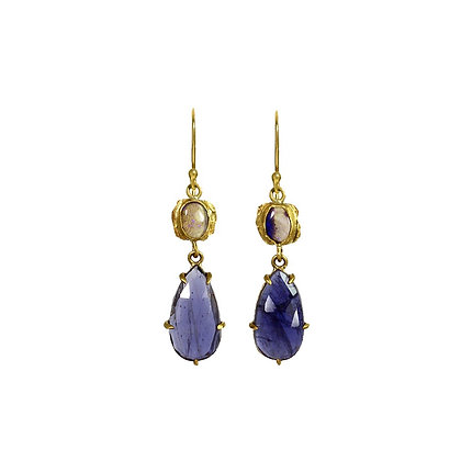 IOLITE AND OPAL TWO STONE EARRINGS