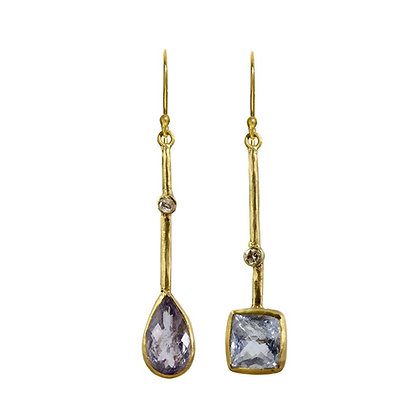 BLUE BERYL AND DIAMOND STICK EARRINGS