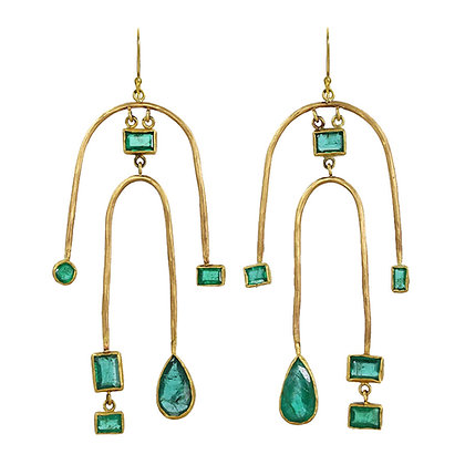 DOUBLE ARCH EMERALD EARRINGS