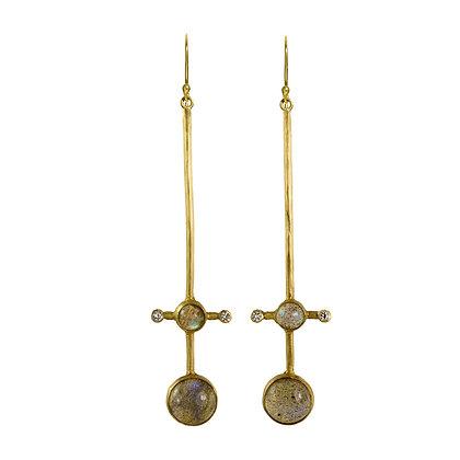 LABRADORITE AND DIAMOND STICK EARRINGS