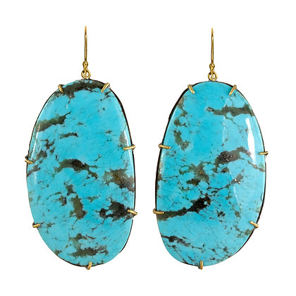 LARGE TURQUOISE EARRINGS IN MIXED METALS