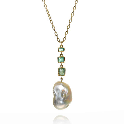 EMERALD AND PEARL DROP NECKLACE