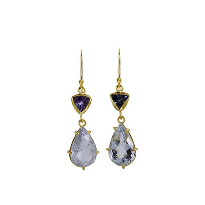 BLUE TWO STONE EARRINGS