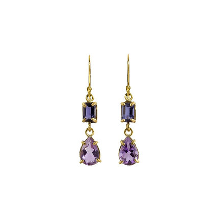 VIOLET TWO STONE DROP EARRINGS