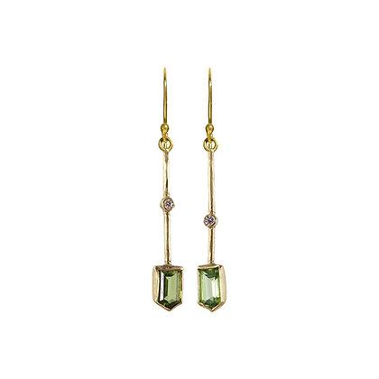 SMALL PERIDOT AND DIAMOND STICK EARRINGS