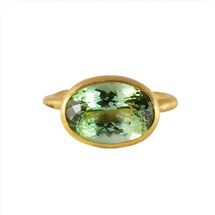 LARGE OVAL GREEN TOURMALINE RING
