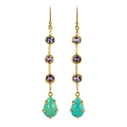 SPINEL AND TURQUOISE STICK EARRINGS