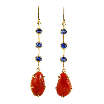 KYANITE AND CORAL STICK EARRINGS