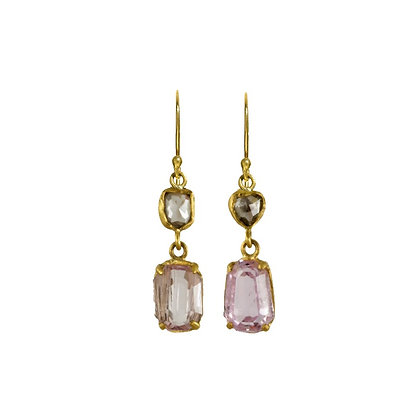 PINK KUNZITE AND ROSE CUT DIAMOND EARRINGS
