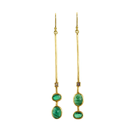 EMERALD AND DIAMOND STICK EARRINGS