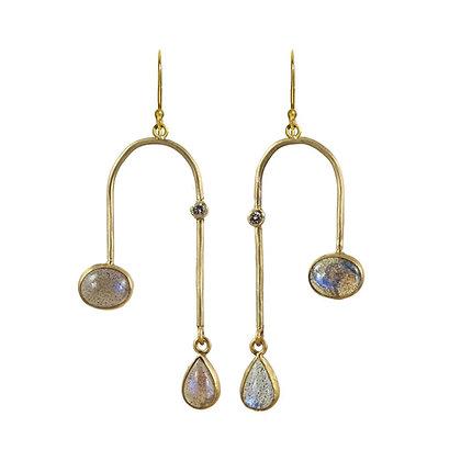 LABRADORITE AND DIAMOND ARCH EARRINGS