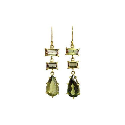 THREE STONE ANDALUCITE AND TOURMALINE EARRINGS