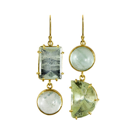 AQUAMARINE DOUBLE STONE EARRINGS