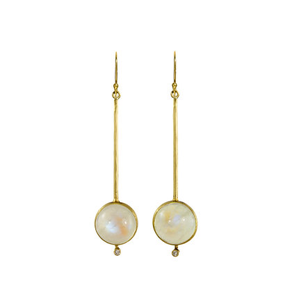 MOONSTONE AND DIAMOND STICK EARRINGS