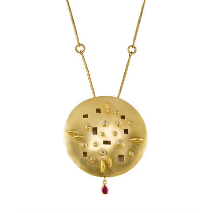 DIAMOND DISC PENDANT WITH RUBY DROP