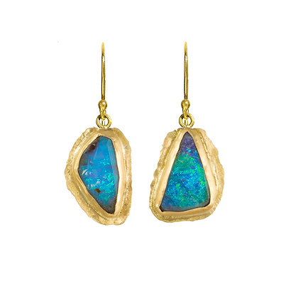 TURQUOISE COLORED BOULDER OPAL DROP EARRINGS