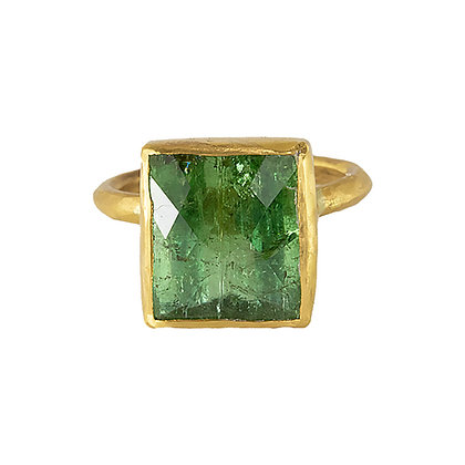 CHECKERBOARD GREEN TOURMALINE RING
