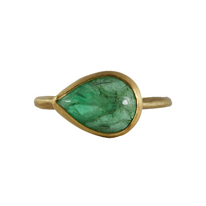EMERALD CABACHON RING