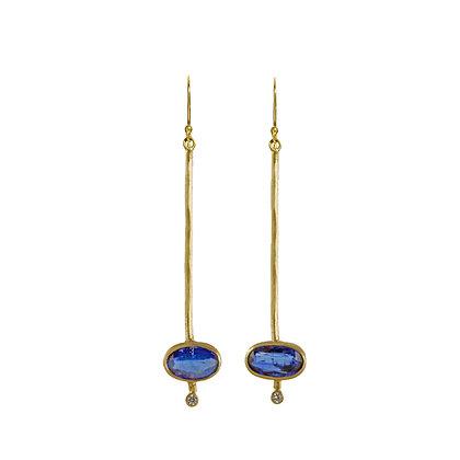 KYANITE AND DIAMOND STICK EARRINGS