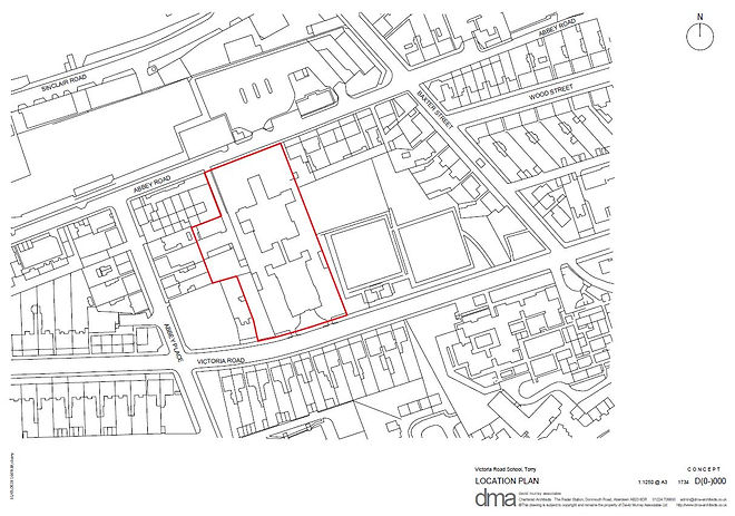Location plan of the Victoria Road School regeneration site in Torry, Aberdeen