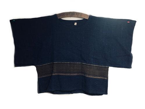 Indigo hand woven top