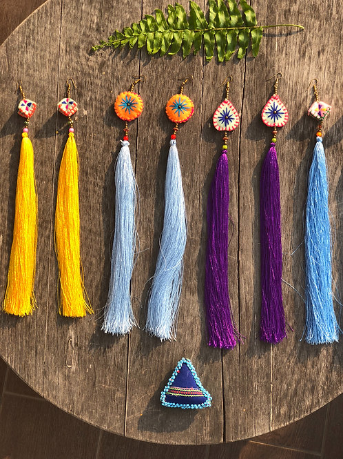 Very long tassel earring