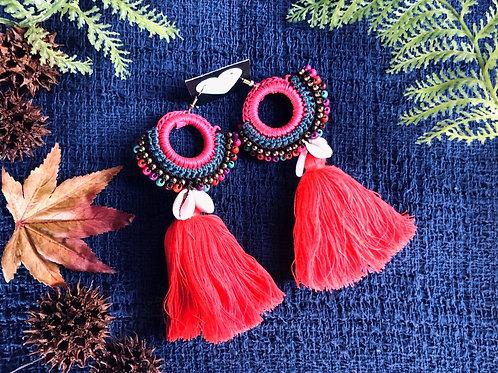 Jumbo tassel mandala earring