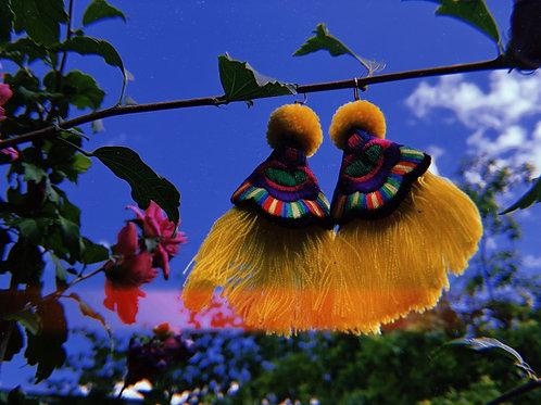 Rainbow yellow tassels