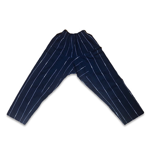 Hand woven indigo dye pants - pearls stitched 🧵