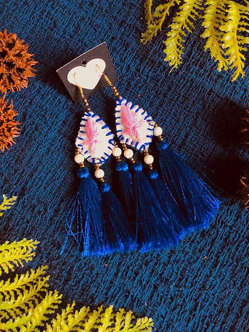 Hand embroidered silk tassel earring