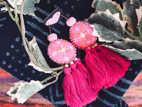 Embroidery tassel earring
